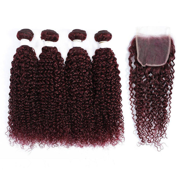 Kemy Hair 4 Human Hair Bundles Maroon Red Kinky Curly with 4×4 Lace Closure (99J)