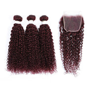 Kemy Hair 3 Kinky Curly Maroon Red Human Hair Bundles with 4×4 Lace Closure (99J)