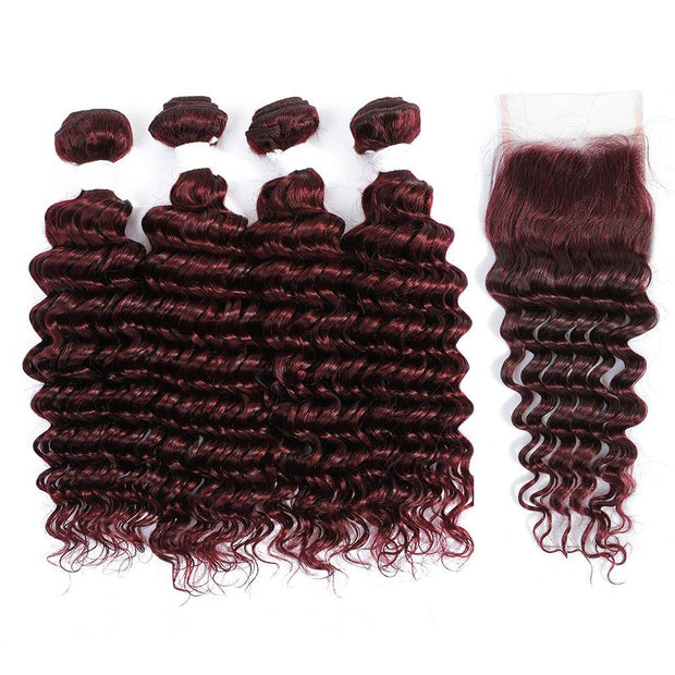 4 Human Hair Bundles Maroon Red Deep Wave with 4×4 Lace Closure (99J)