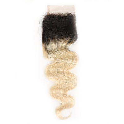Ombre Blond Body Wave Remy Human Hair 4×4 Free/Middle Part Lace Closure 8''-20'' (1B/613) (3947314151494)