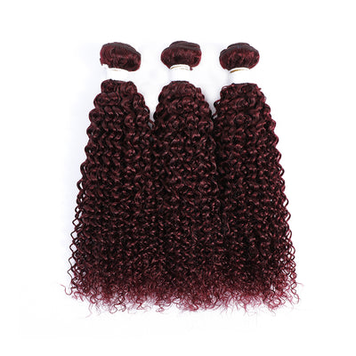 Maroon Red 3 Human Hair Bundles Kinky Curly (99J)