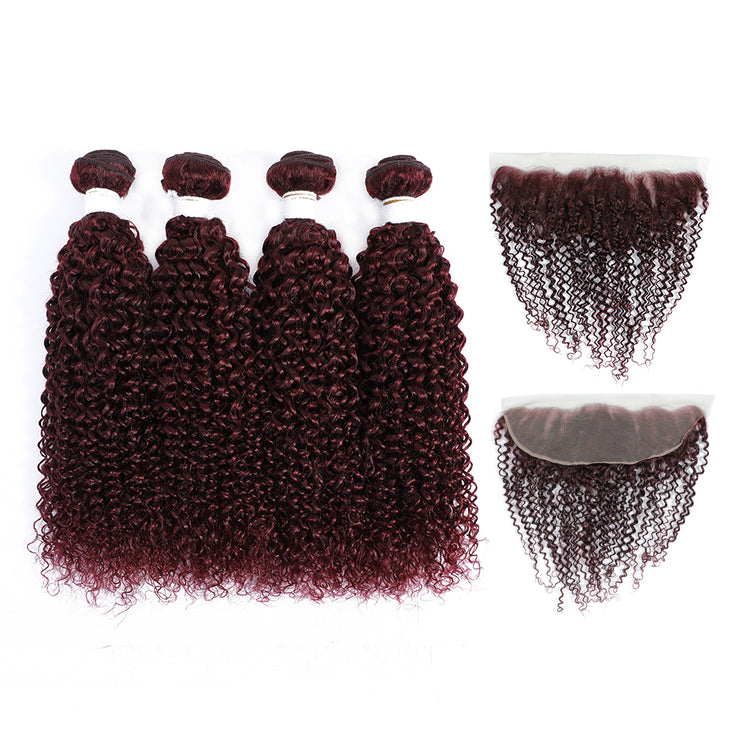 Kemy Hair Maroon Red Kinky Curly 4 Human Hair Bundles with 4×13 Lace Frontal (99J)