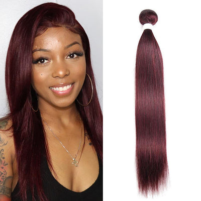 Kemy Hair Colored 100% Human Hair Weave Straight Hair Bundle 8-26 inch (99J) - Kemy Hair