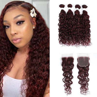 Kemy Hair 4 Human Hair Bundles Maroon Red Water Wave with 4×4 Lace Closure (99J) - Kemy Hair
