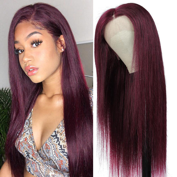 Kemy Hair Custom Maroon Red Human Hair Lace Front wigs 8''-28'' (99J)