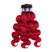 Ombre BURG Body Wave Three Human Hair Bundles 8''-26''