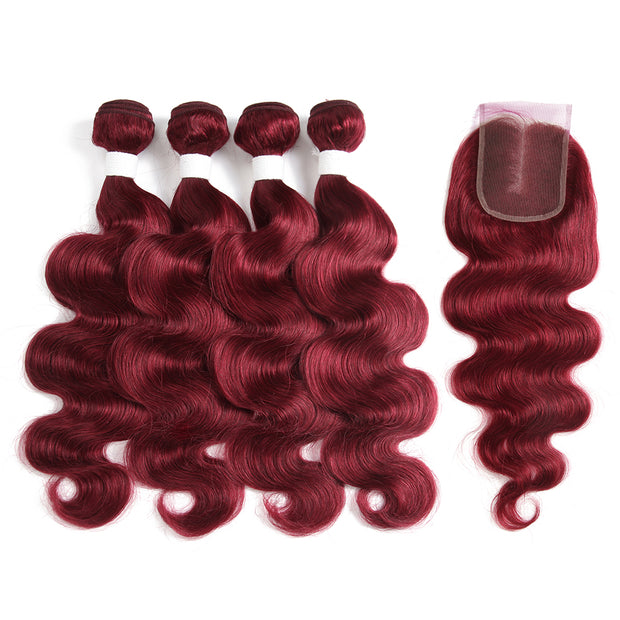 Kemyhair Human Hair 4 Bundles with 4×4 Lace Closure Body Wave (Burgundy) (3978205790278)
