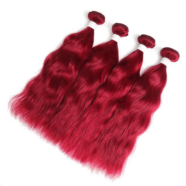 Natural Wavy Burgundy Red 4 Human Hair Bundles (8''-26'')