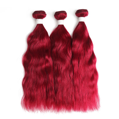 Natural Wavy Burgundy Red 3 Human Hair Bundles (8''-26'') (3966422188102)