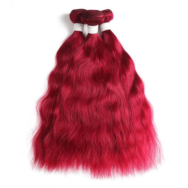 Natural Wavy Burgundy Red 3 Human Hair Bundles (8''-26'')