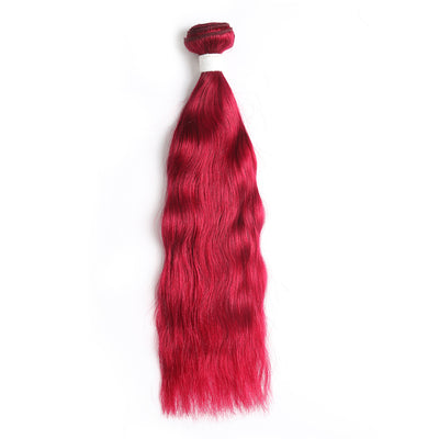 Natural Wavy Burgundy Red Human Hair Bundle (8''-26'') (3966418124870)