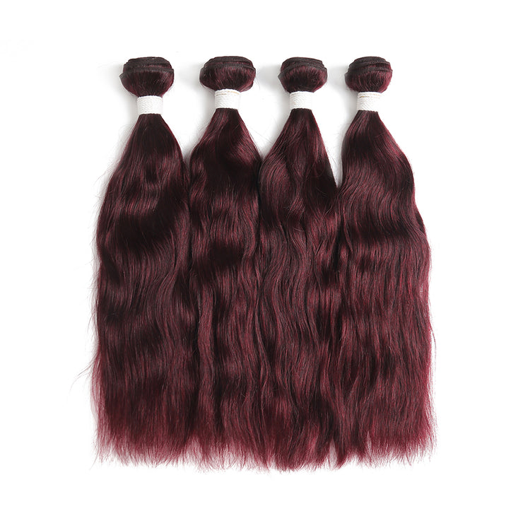 Natural Wavy 99J 4 Human Hair Bundles (8''-26'') (3966521147462)