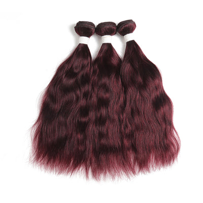 Natural Wavy 99J 3 Human Hair Bundles (8''-26'') (3966501584966)