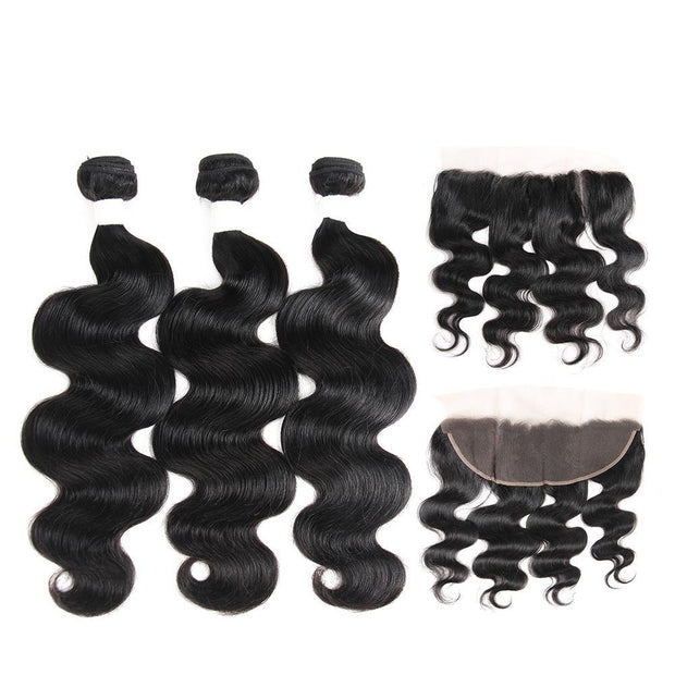 Body Wave Black Human Hair Weave 3 Bundles with Free /Middle Part 4×13 Lace Frontal (1B) (2798457421924)
