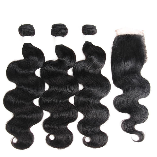 Body Wave Black Human Hair Weave 3 Bundles with Free /Middle Part 4×4 Lace Closure (1B)