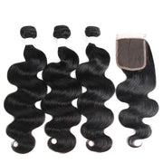 Body Wave Black Human Hair Weave 3 Bundles with Free /Middle Part 4×4 Lace Closure (1B) (2784591052900)