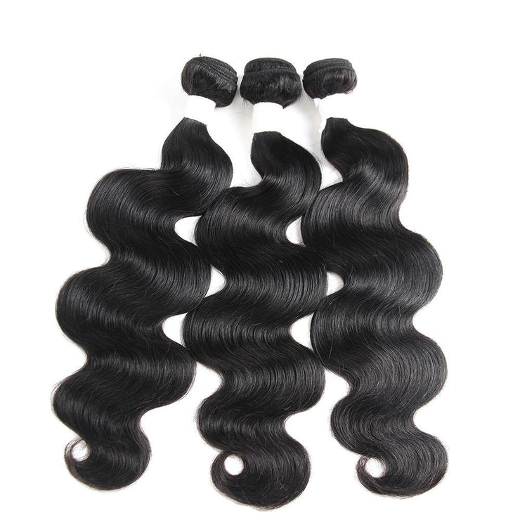 Colored Black 100% Human Hair Weave BODY Wave 3 Hair Bundles 8-26 inch (1B) (2612381384804)