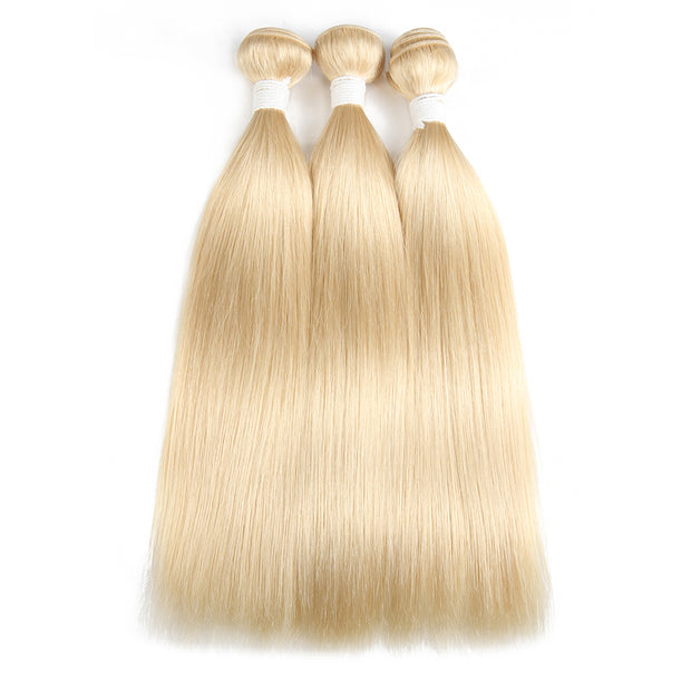 Straight 613 Blond Remy 3 Human Hair Bundles 8''-26'' (3578288013412)