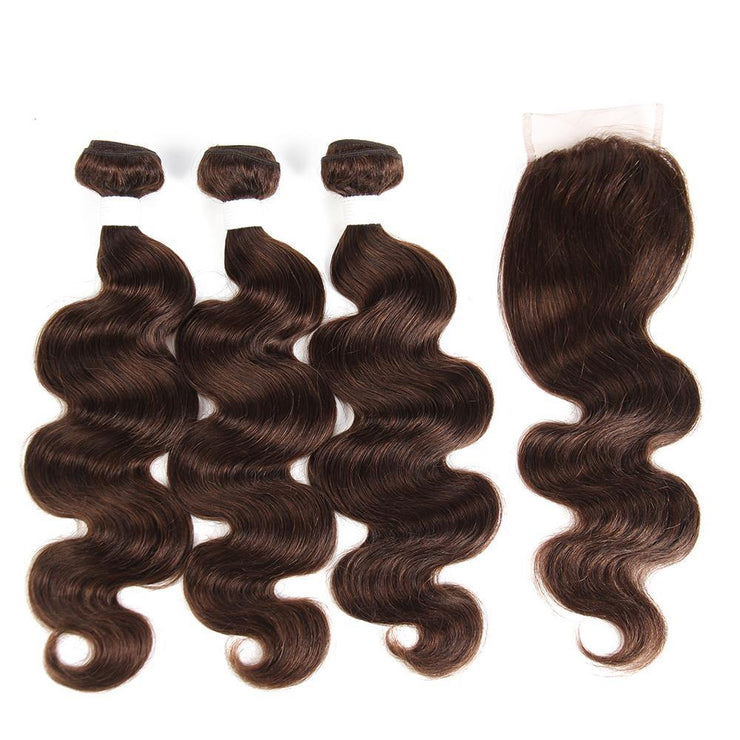 Body Wave Medium Brown Human Hair Weave Three Bundles with Free /Middle Part 4×4 Lace Closure (4) (2909351477348)