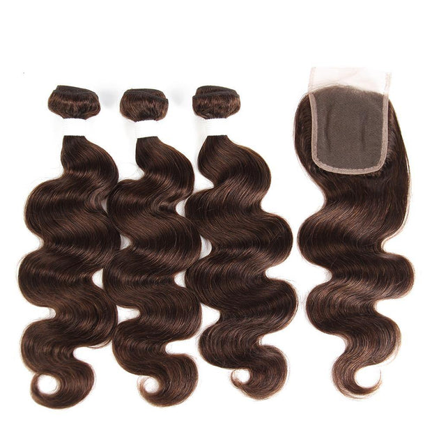 Body Wave Medium Brown Human Hair Weave Three Bundles with Free /Middle Part 4×4 Lace Closure (4)