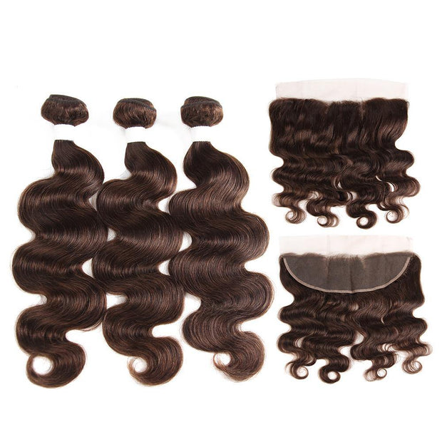 Body Wave Medium Brown Human Hair Weave Three Bundles with Free /Middle Part 4×13 Lace Frontal (4)