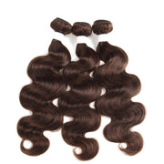 Colored 100% Medium Brown Human Hair Weave BODY 3 Hair Bundles 8-26 inch (4)