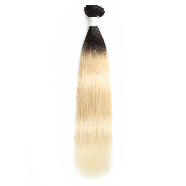 Straight Ombre Blond Remy Human Hair Bundle 8''-26'' (1B/613) (3947296358470)