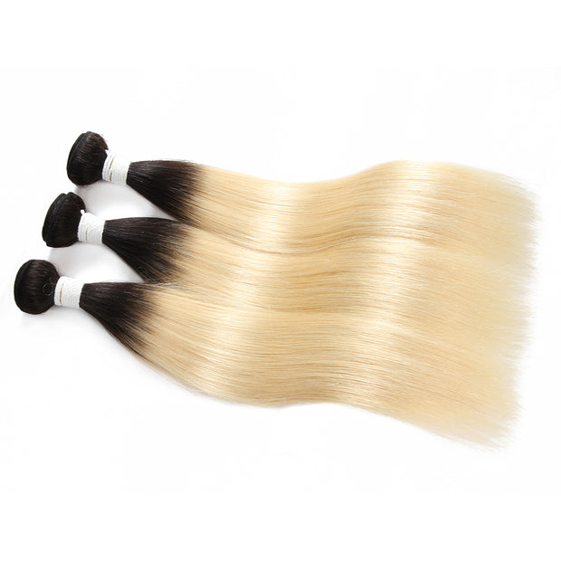 Straight Ombre Blond Remy 3 Human Hair Bundles 8''-26'' (1B/613) (3947300126790)