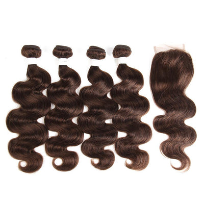 Body Wave Chocolate Brown Human Hair Four Bundles Weave with One   Free/Middle Part 4×4 Lace Closure (4) (2827535876196)