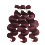 Colored 100% Maroon Red Human Hair Weave BODY 3 Hair Bundles 8-26 inch (99J)