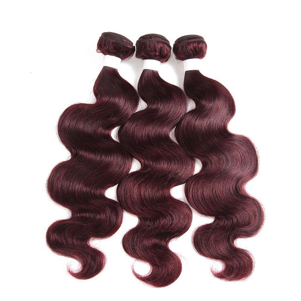 Colored 100% Maroon Red Human Hair Weave BODY 3 Hair Bundles 8-26 inch (99J) (2908502098020)