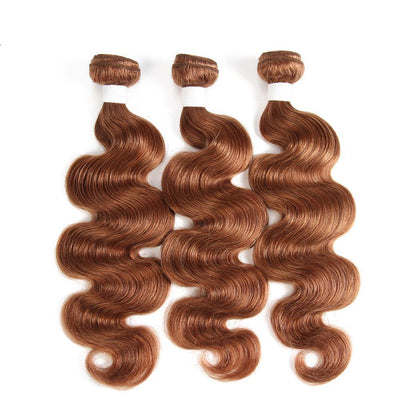Colored 100% Brown Human Hair Weave BODY 3 Hair Bundles 8-26 inch (30) (2903144988772)