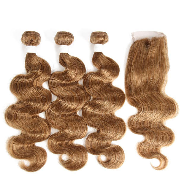 Body Wave Honey Blonde Human Hair Weave Three Bundles with Free/Middle Part 4×4 Lace Closure (27#)