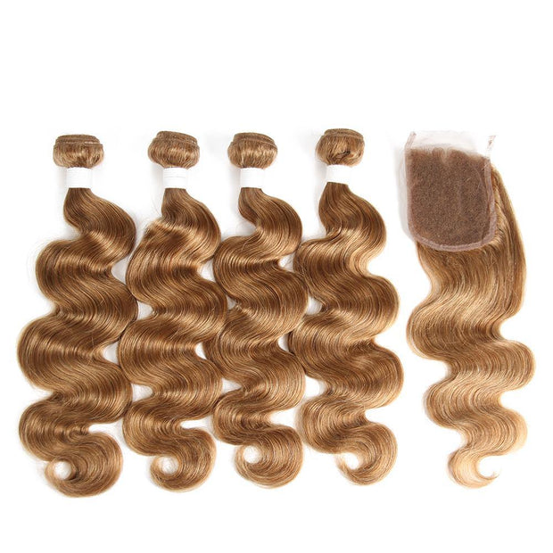 Body Wave Honey blonde Human Hair 4 Bundles Weave with One Free/Middle Part 4×4 Lace Closure (27) (2849801764964)