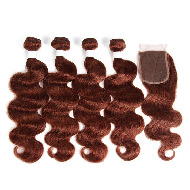 Body Wave Auburn Red Human Hair 4 Bundles Weave with One Free/Middle Part 4×4 Lace Closure (33)