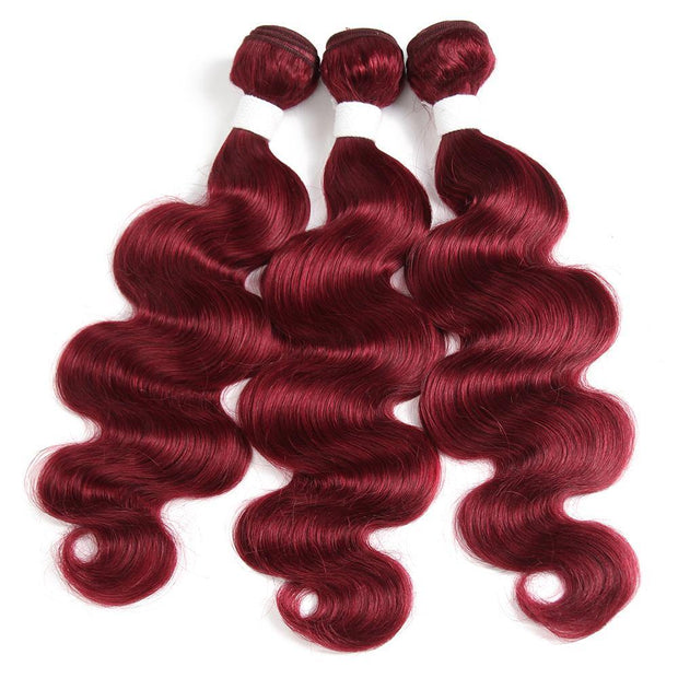 Kemyhair Burgundy Red 3 Human Hair Bundles Body Wave (Burg)