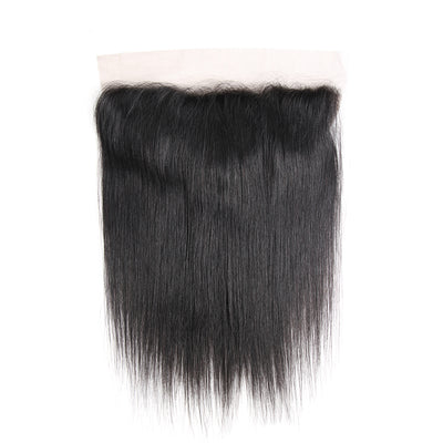 Straight Black Human Hair Free/Middle Part 4×13 Lace Frontal (1B) (3046818447460)