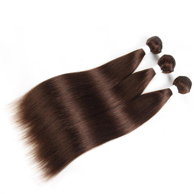 Colored 100% Human Hair Weave Straight 3 Hair Bundles 8-26 inch (4)