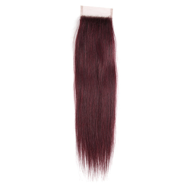 Straight Colored Human Hair Free/Middle Part 4×4 Lace Closure (99J)