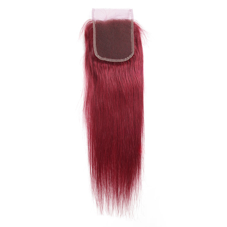 Straight Colored Human Hair Free/Middle Part 4×4 Lace Closure (Burgundy)