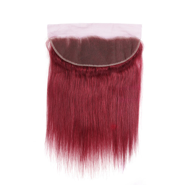 Straight Colored Human Hair Free/Middle Part 4×13 Lace Closure (Burgundy)