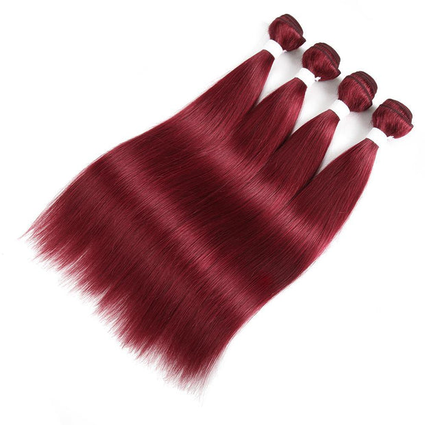 Kemyhair  4 Human Hair Bundles Straight (Burgundy)
