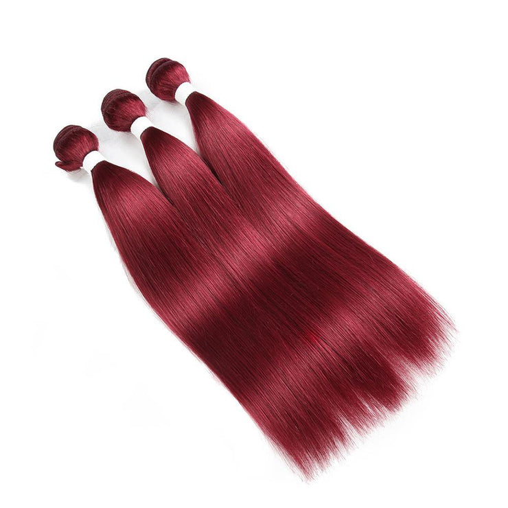 Kemyhair  3 Human Hair Bundles Straight (Burgundy) (2622627250276)