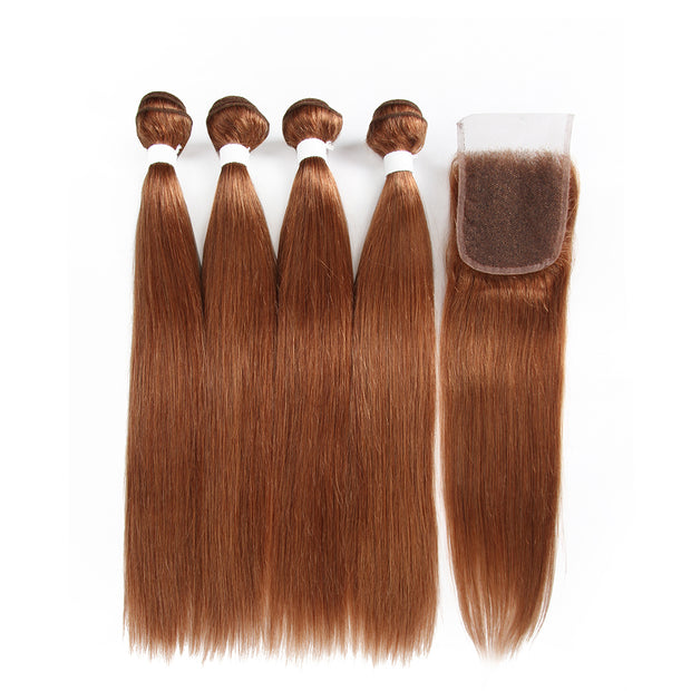 Straight Colored Human Hair Four Bundles Weave with One Free/Middle Part 4×4 Lace Closure (30) (2840452366436)