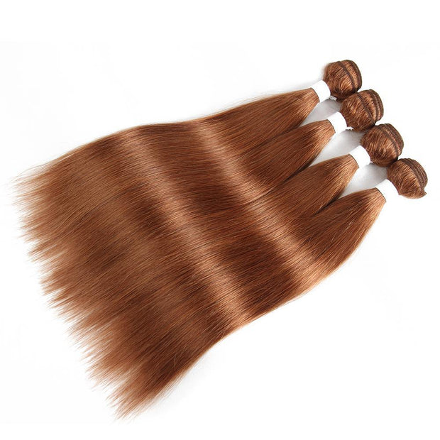 Colored 100% Human Hair Weave Straight 4 Hair Bundles 8-26 inch (30) (2625749876836)