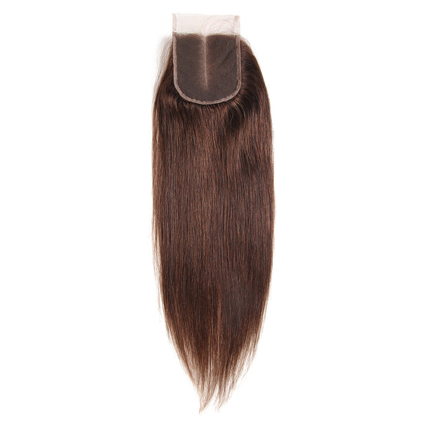 Straight Colored Human Hair Free/Middle Part 4×4 Lace Closure (4)