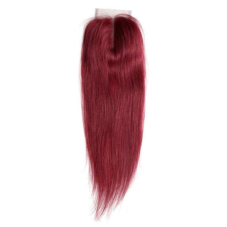 Straight Colored Human Hair Free/Middle Part 4×4 Lace Closure (Burgundy) (3926488285254)
