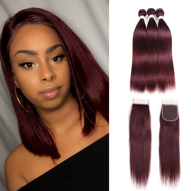 Straight Colored Human Hair Weave with Free /Middle Part 4×4 Lace Closure (99J)