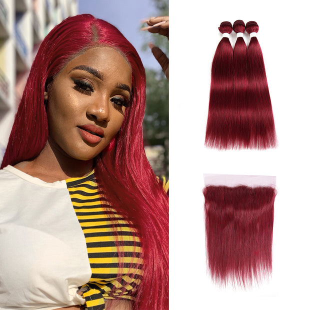 Kemyhair Human Hair 3 Bundles with 4×13 Lace Frontal Straight (Burgundy) (2784539836516)
