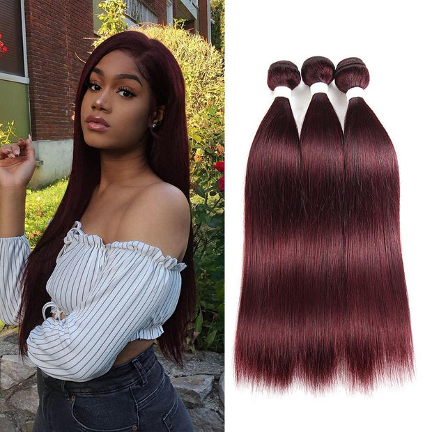 Colored 100% Human Hair Weave Straight 3 Hair Bundles 8-26 inch (99J) (2622546051172)